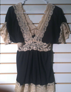 Women's Black & Beige Lace Top Size S by Tempted (01023)