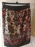 Women's Brown & Orange Floral Wrap Skirt Size 0 by New York & Company (02424)