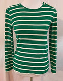 Women's Green & White Striped Top Size M by Liz Claiborne (03361)
