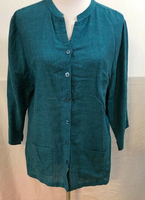 Women's Jade Button Down Tunic Size L by Serengeticatalog.com (03541)