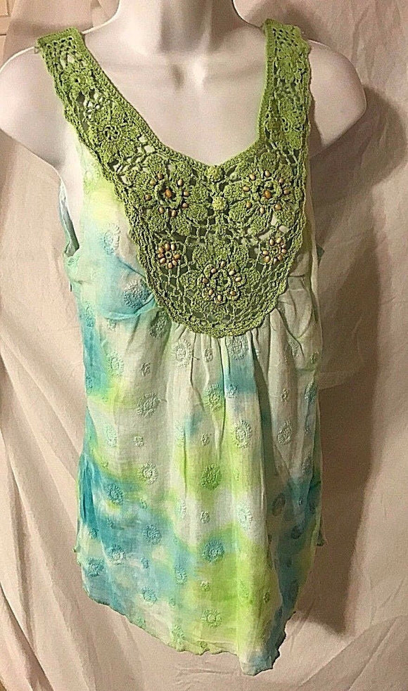 Women's Green & Blue Tie-Dyed Crocheted Beaded Tank Size S by Peppe Peluso (02869)
