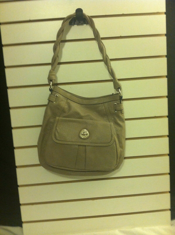 Women's Nude Colored Braided Strap Leather Shoulder Bag by Plum (P114)