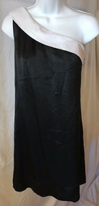 Women's Black & White One Shoulder Dress Size M by Intuitions (02617)