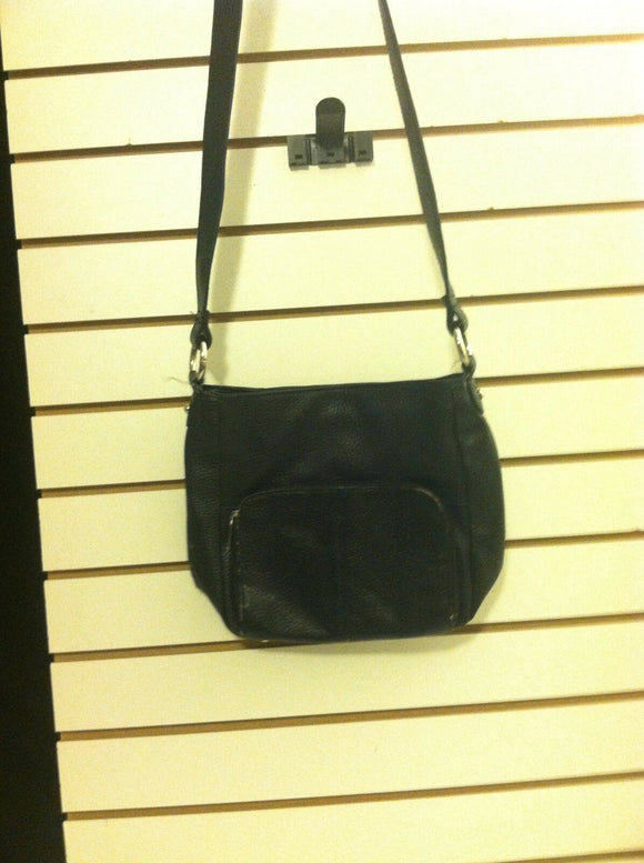 Women's Black Square Leather Shoulder Bag (P113)