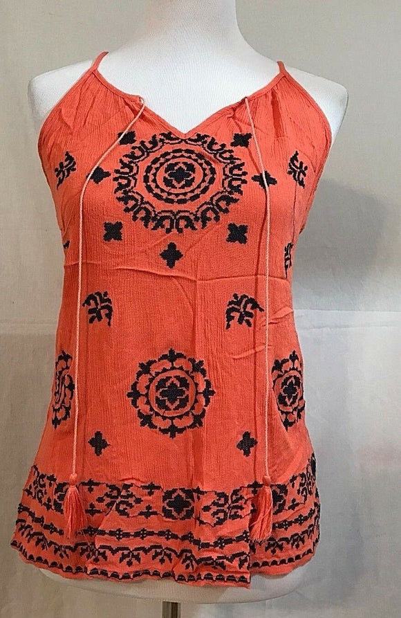 Women's Orange Gauze Embroidered Tank Top Size S (03254)