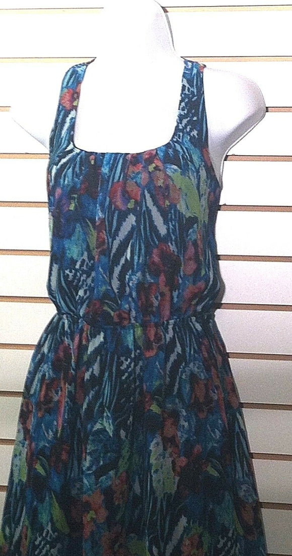 Junior's Blue Flowered Dress Size M (7-9) by No Boundries (00417)