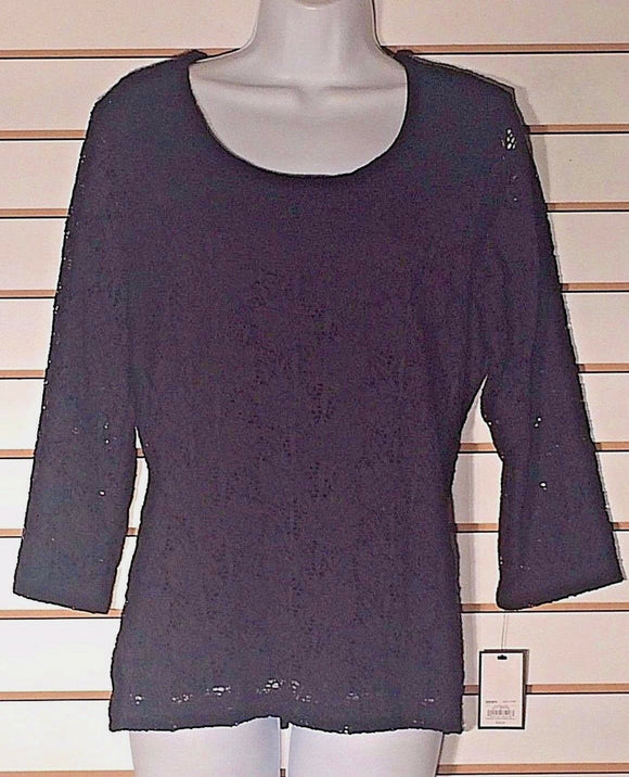 Women's New Black Lace Top Size L by Croft & Barrow (02173)