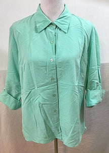 Women's Mint Green Button Down Shirt Size XL by First Issue (03527)