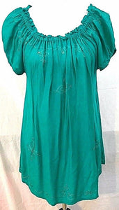 Women's Green Embroidered Peasant Shirt Size M by Island Planet (03458)