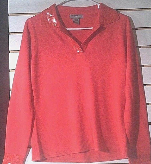 Women's Coral Embellished Collar Sweater Size S by Designers Original (00973)