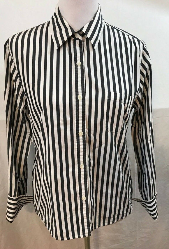 Women's Gray & White Striped Shirt Size M by Talbots (03544)