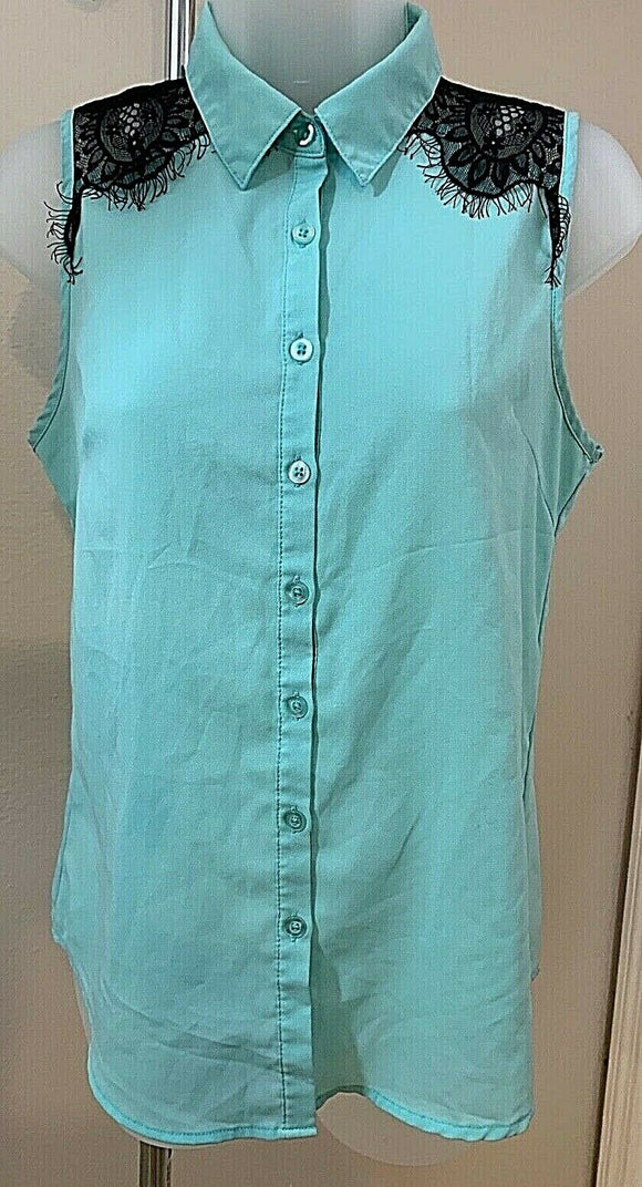 Women's Mint Green W/Black Lace Trim Top Size S by Mine (04441)