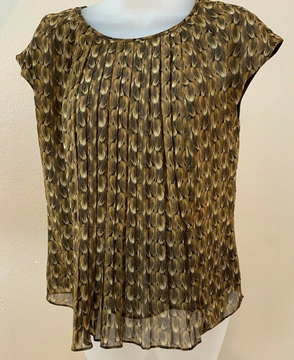 Women's Brown Animal Print Pleated Accordian Top Size 4 by Talbots (04435)