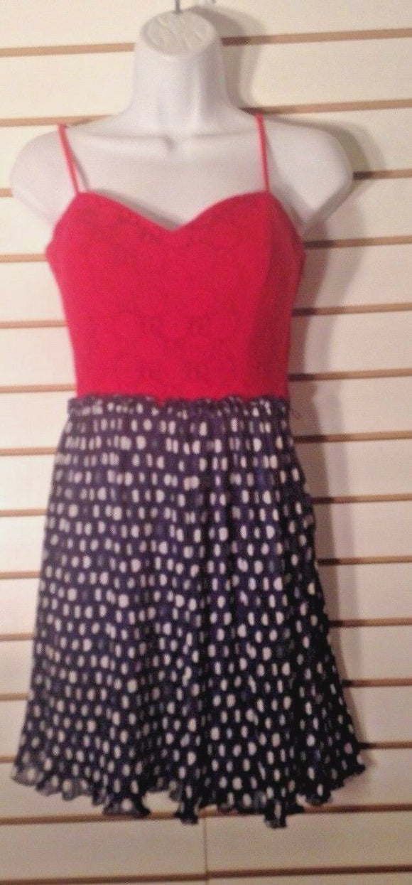 Junior's Red & Blue Polka Dot Dress Size 9 by City Triangles (02036)