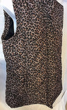 Women's Brown Animal Print Sleeveless Quilted Jacket Size L  by Three Hearts (02716)