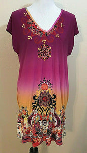Women's Fuchsia Multicolor V-Neck Knit Dress Size L by Nue Options (04235)