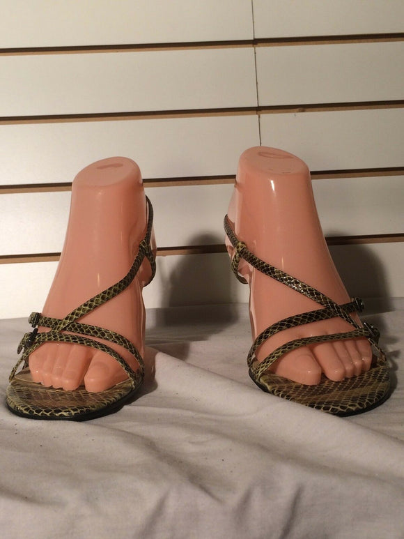 Women's Yellow & Brown Faux Snakeskin Strapy Sandals by Style&co. (SH231)