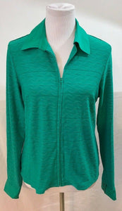 Women's Green Zipper Front Top Size S by Dialogue (03565)