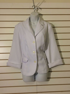 Women's White Waffle Texture Blazer Size 16 by Spago Collection (01512)