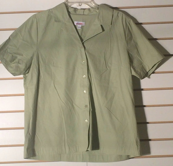 Women's Pea Green Button Down Shirt Size L by d & co Essentials  (01597)