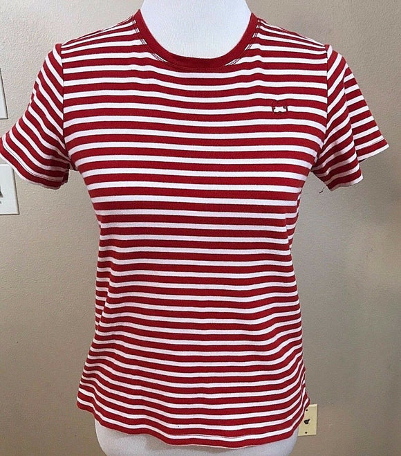 Women's Red & White Striped Top Size M by Liz Claiborne (02944)