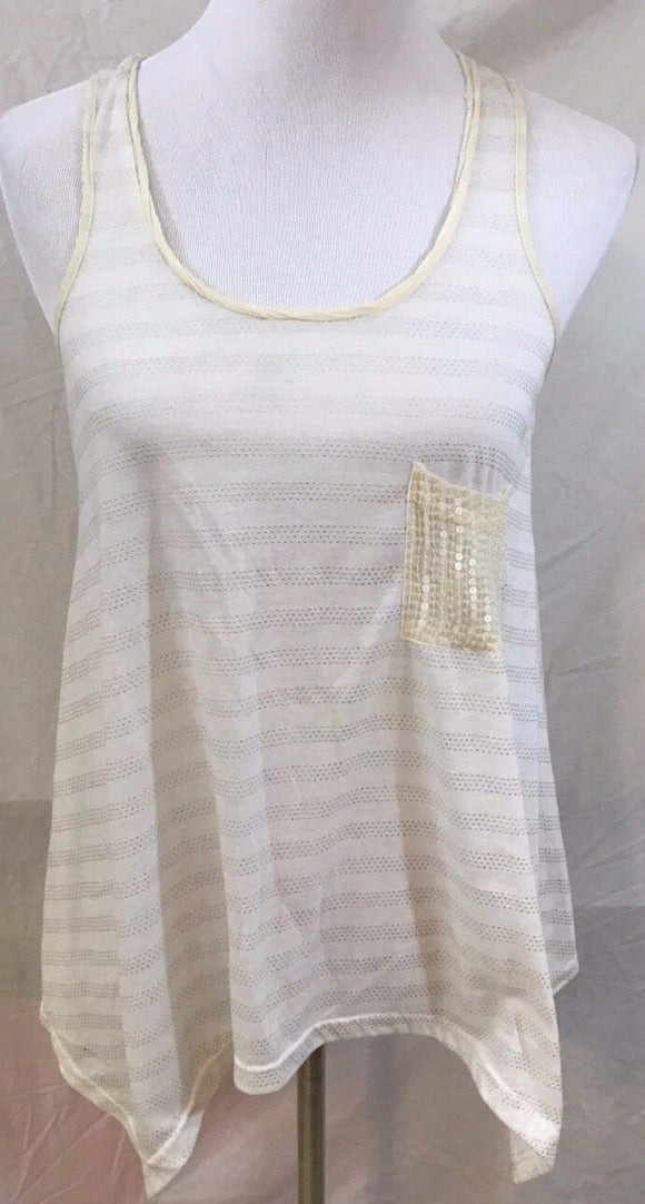 Women's Pale Yellow Asymmetrical Beaded Striped Tank Size M by Miss Me (03122)