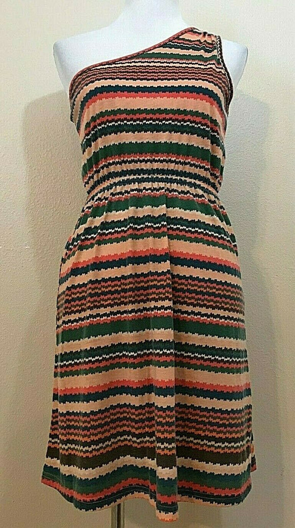 Women's Multicolor Striped One Shoulder Dress Size M by Annabella (04190)