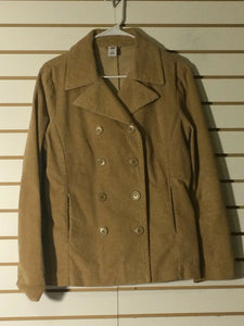 Women's Tan Double Breasted Corduroy Car Coat by GAP (01407)