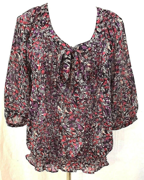Women's Purple Sheer Multi-Color Top Size S by Gloria Vanderbilt (03507)