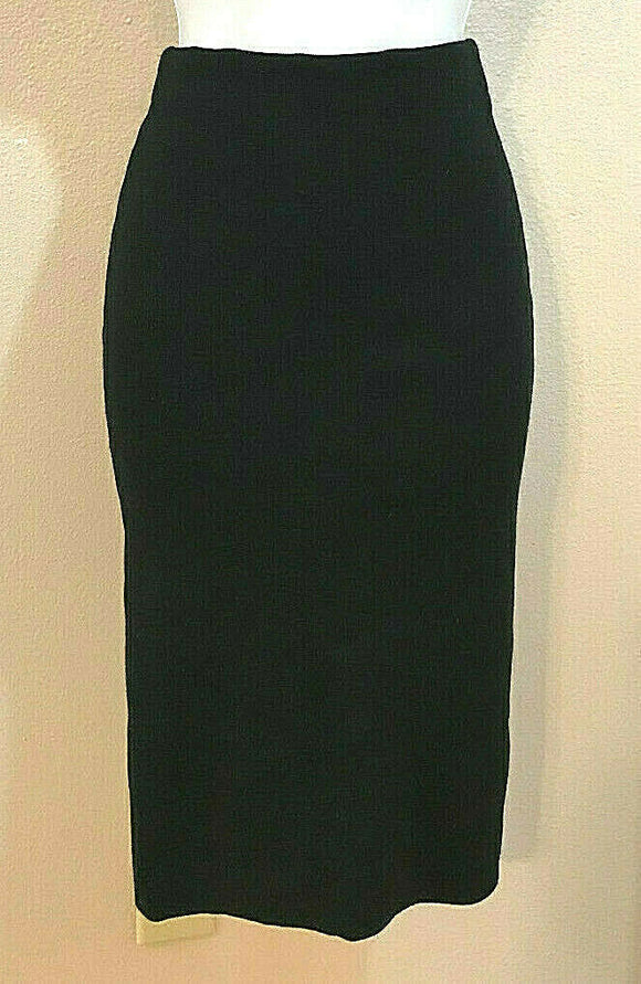 Women's Black Ribbed Skinny Stretchy Straight Skirt Size S by Sans Souci (04304)