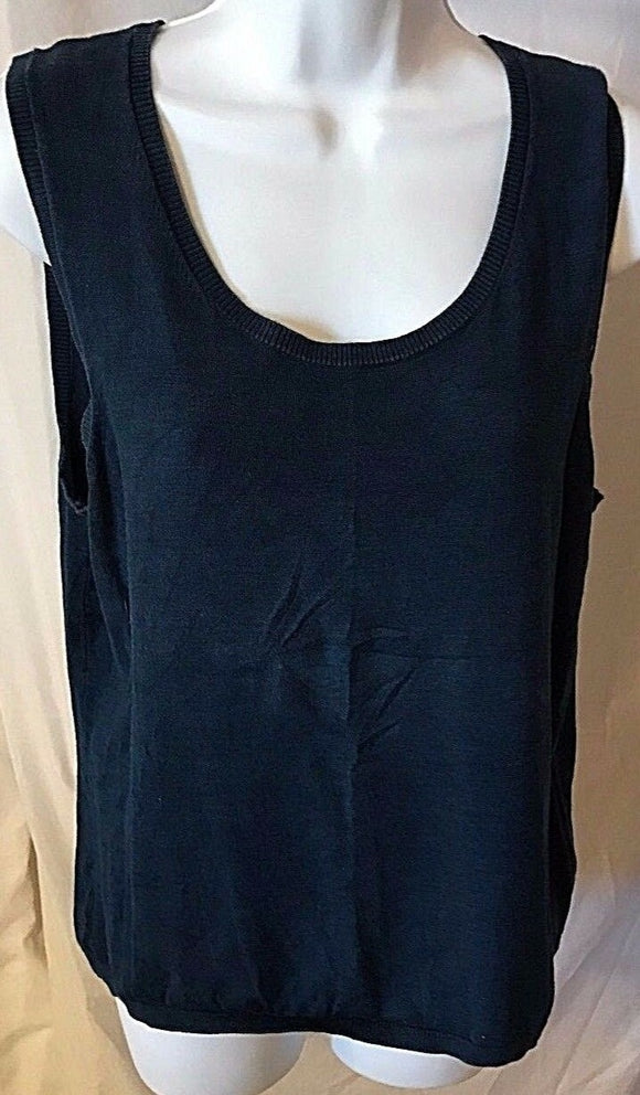 Women's Blue Silk Blend Top Size L by Judith Hart Collection (02622)
