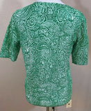 Women's Green Paisley Button Down Sweater Size M by Liz Claiborne (02994)