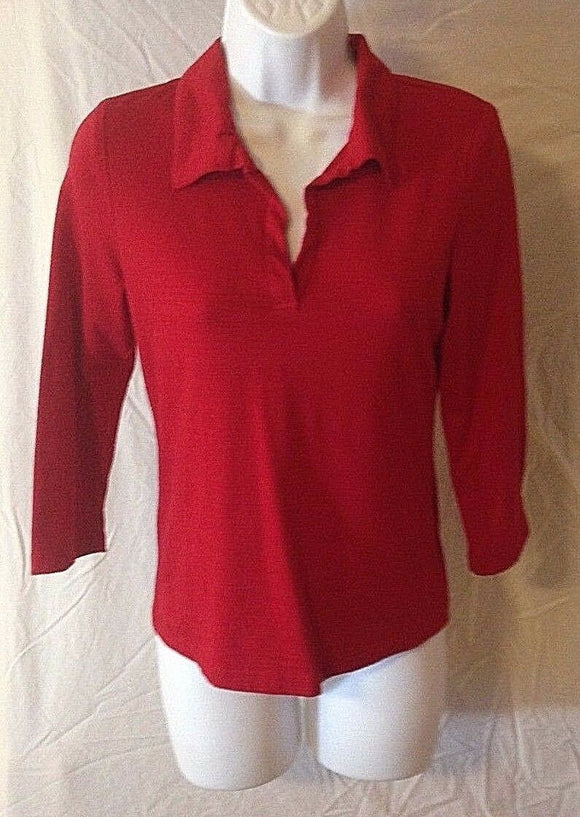 Women's Red V-Neck Top Size L by My Michelle (02412)