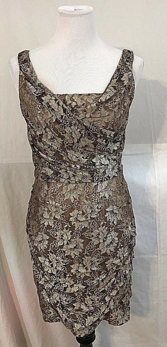 Women's Brown & Tan Lace Dress Size 8 by Express (03274)