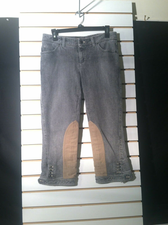 Women's Gray Denim Capri's w/Suede Patches Size 28 by GIANNI BINI (01234)