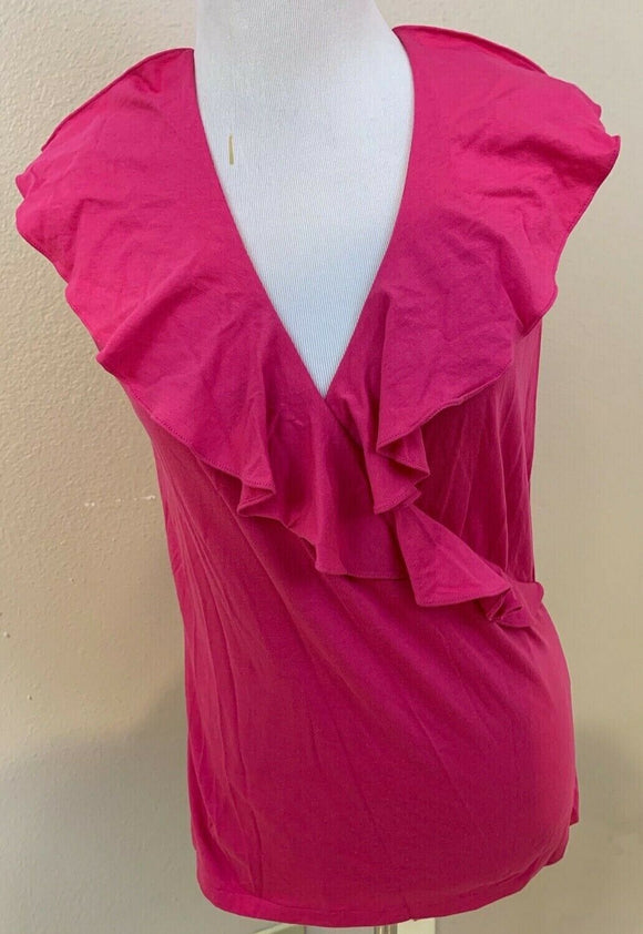 Women's Hot Pink Ruffled Faux Wrap Top Size M by Ralph Lauren Sport (04422)