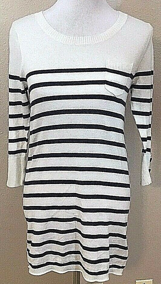 Women's Black & White Striped Tunic Knitted Top Size M by BDG (02962)
