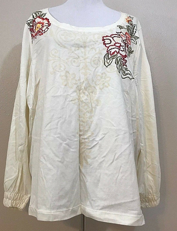 Women's Plus Size Cream Embroidered Floral Top Size 2X by Jason Maxwell Women (03853)