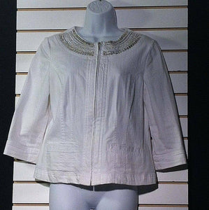 Women's Petite White Cropped Embellished Blazer Size 8P by JM Collection (00300)