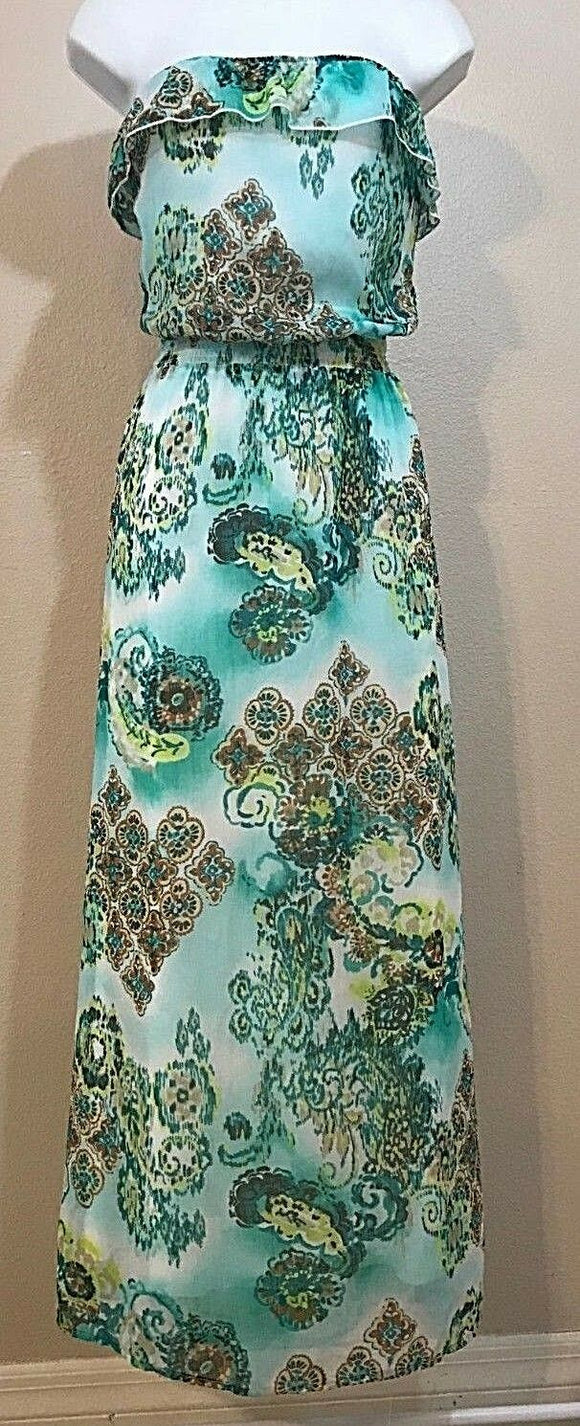 Women's Green Floral Strapless Long Dress Size S by L8ter (04032)