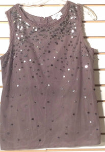 Women's Gray Embellished Top Size 12 by Ann Taylor Loft  (01287)