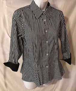 Women's Black & White Striped Peplum Shirt Size 8 by Ralph Lauren (02791)