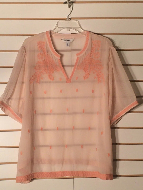 Women's Sheer Floral Embellished Orange Peasant Top Size XXL by Old Navy (01572)