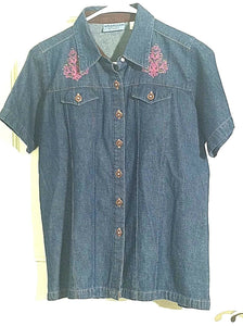Women's Blue Button Down Denim Shirt Size M by Wrangler's Blue's (00660)