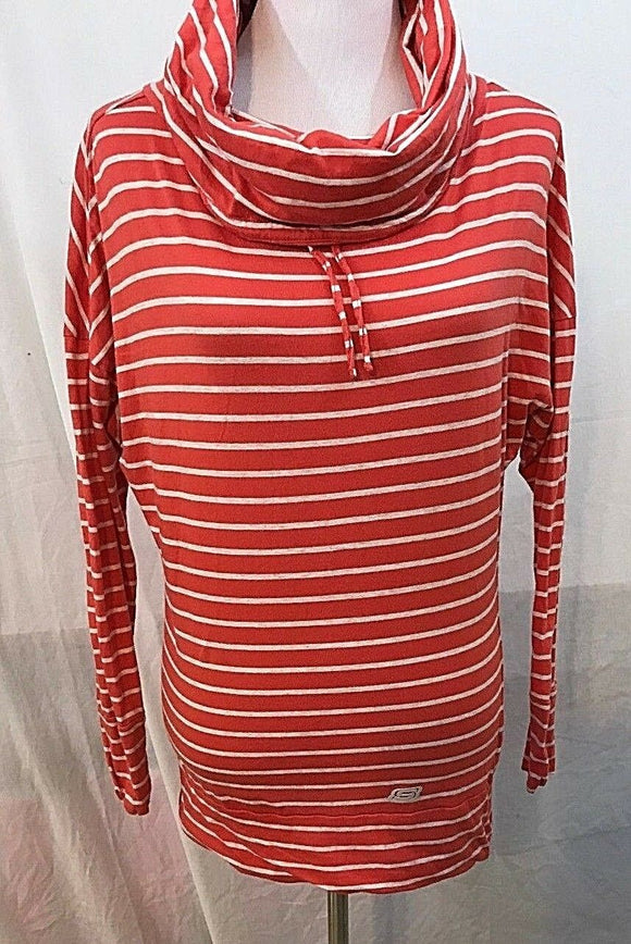 Women's Coral & Oat Striped Cowl Neck Tunic Size M by Sketchers (03332)