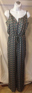 Women's Green Patterned Spaghetti Strap Light Jumpsuit Size S (02354)