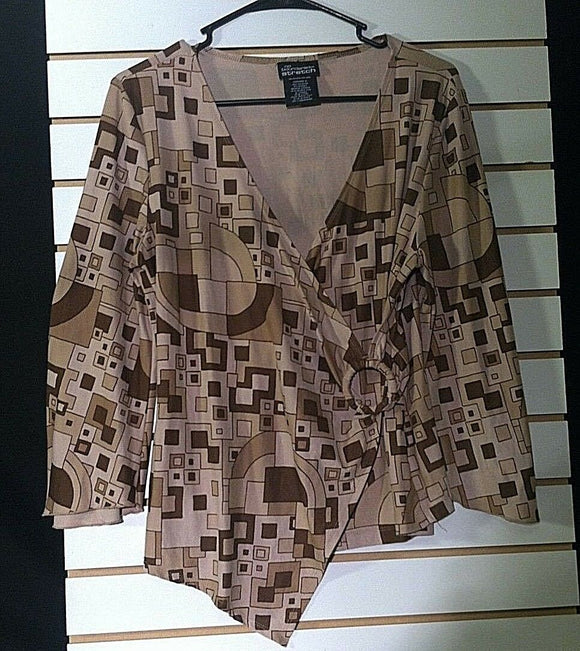 Junior's Tan & Brown Geometric Top Size XL (15) by No Boundaries Stretch (00770)
