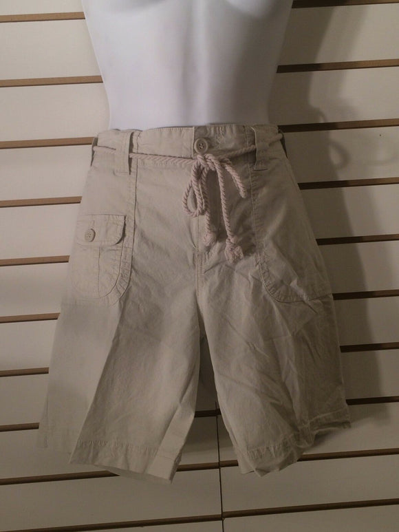 Women's Tan Shorts w/Rope Tie Belt by Caribbean Joe (01699)
