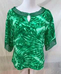 Women's Green Tie-Dyed Color Top Size 4 by INC International Concepts (03096)