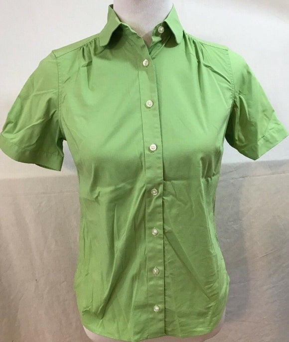 Women's Petite Green Button Down Shirt Size 0P by Lands' End (03517)